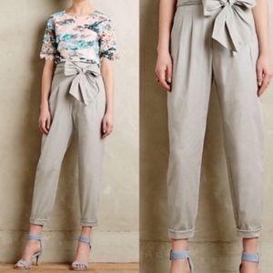 Anthro Cartonnier Bow Tie Paper Bag Trouser Pants